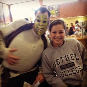 Nolan dresses as Shrek on Halloween.