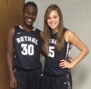 My friend and teammate, April Harpe and I before our first game.