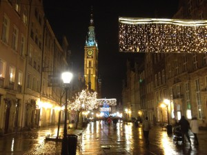 Dlugi Targ, a street near our hotel in Gdansk, aglow at night.