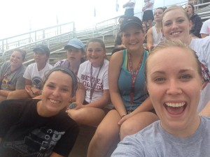 Most of our Women's tennis team enjoying a soccer game!